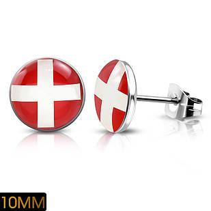 Серьги гвоздики флаг Швейцарии 316 Steel