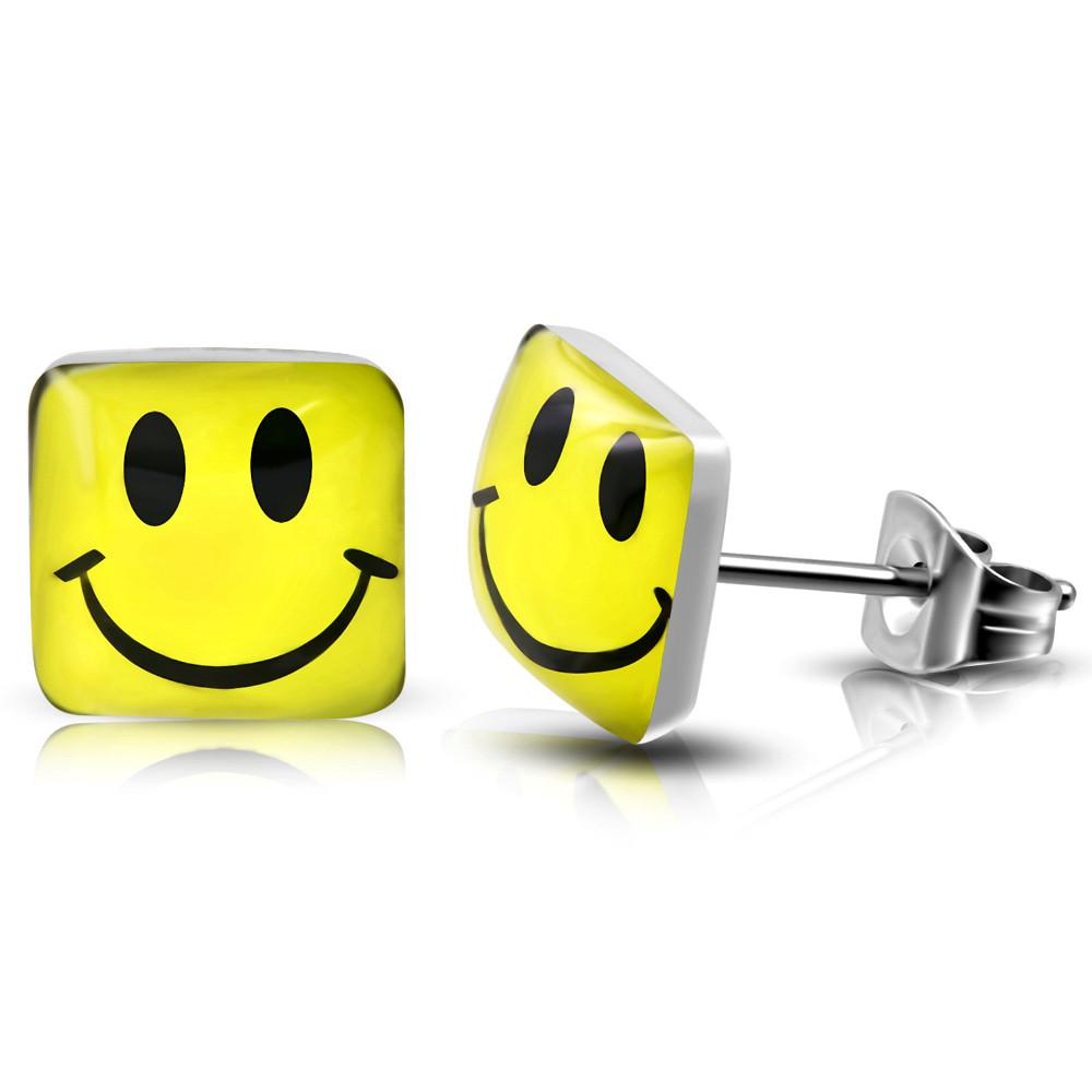 Сережки гвоздики щасливий жовтий смайлик 316 Steel