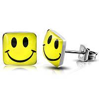 Серьги гвоздики счастливый желтый смайлик 316 Steel