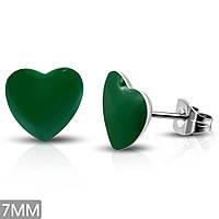 Серьги гвоздики зеленые сердечки 316 Steel