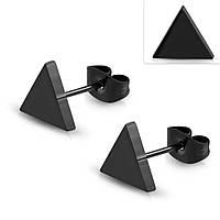 Серьги гвоздики черный треугольник 316 Steel