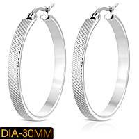 Серьги кольца серебристые 316 Steel