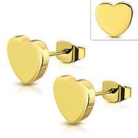 Серьги гвоздики золотые сердечки 316 Steel