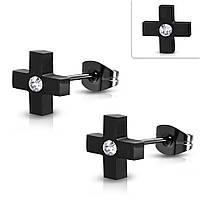 Серьги гвоздики черный крест с фианитом 316 Steel
