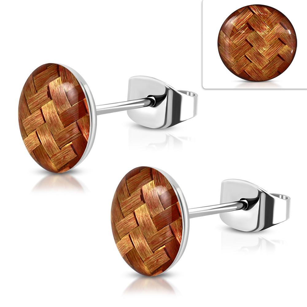 Сережки гвоздики плетена корзинка коричневі 316 Steel