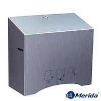 Механический диспенсер бумажных полотенец в рулонах из матовой нержавейки Merida Stella Automatic, Польша, фото 1