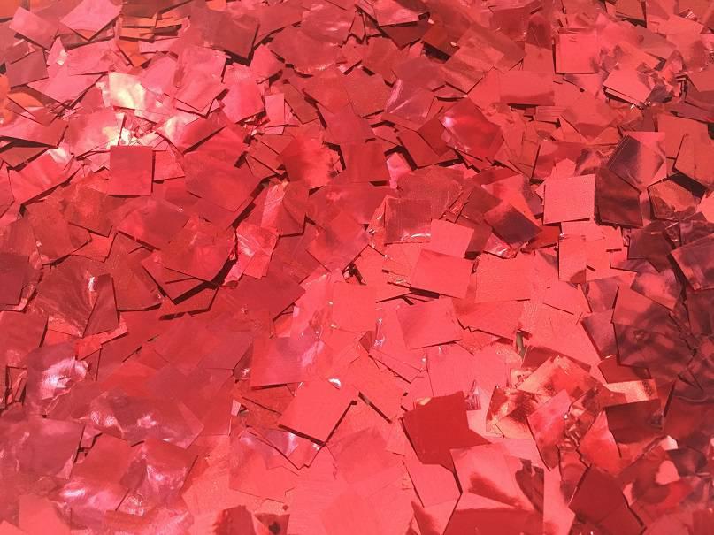 Конфетти квадратики красный металлик, 50 грамм