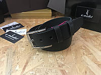 Ремень из цельной кожи 40мм натуральная кожа мужской брючный джинсовый черный со строчкой, фото 1