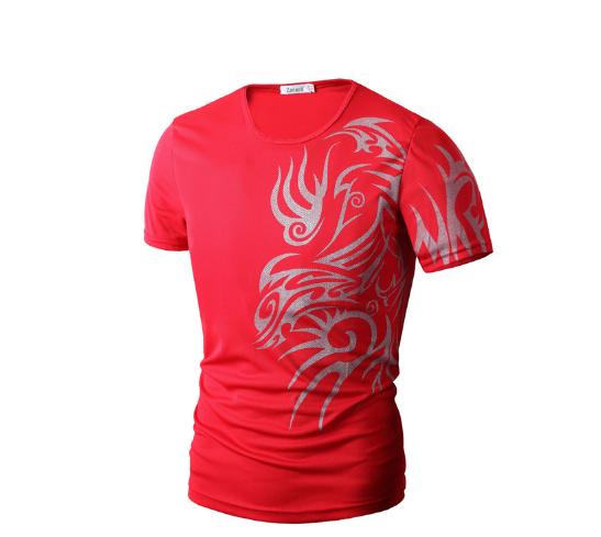 Футболка з абстрактним принтом червона М-XXXL код 57