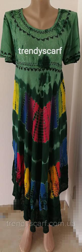 Женская летняя туника, сарафан Ламбада. Зеленый, красный, голубой, жолтый. Вискоза. Индия