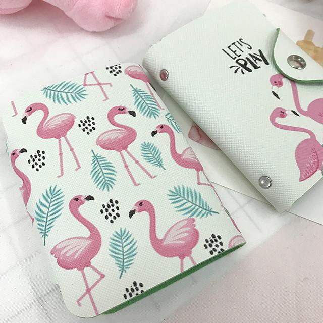 визитница с розовыми фламинго