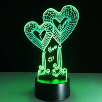 LED ночник Два сердца ( светильник меняет 7 цветов ), фото 3