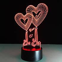 LED ночник Два сердца ( светильник меняет 7 цветов ), фото 2