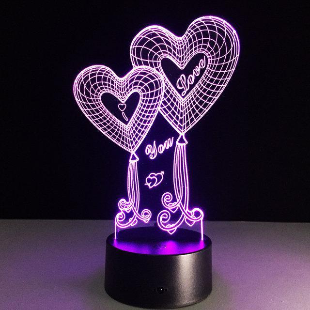 LED ночник Два сердца ( светильник меняет 7 цветов )