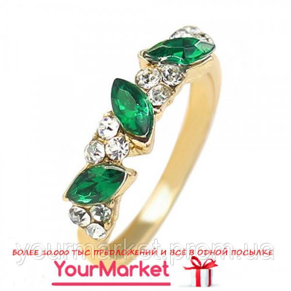 Кольцо BLUELANS цвет золото камни изумрудного цвета стразы