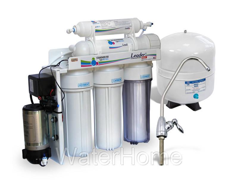 Питьевая система, обратный осмос, Leaderfilter Standard RO-5 P с помпой - WaterHome в Киеве