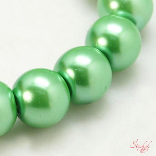Жемчужная стеклянная бусина 8мм перламутр оттенок зеленый