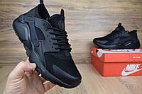 Мужские кроссовки Nike Huarache черные полностью резинка Топ Реплика Хорошего качества