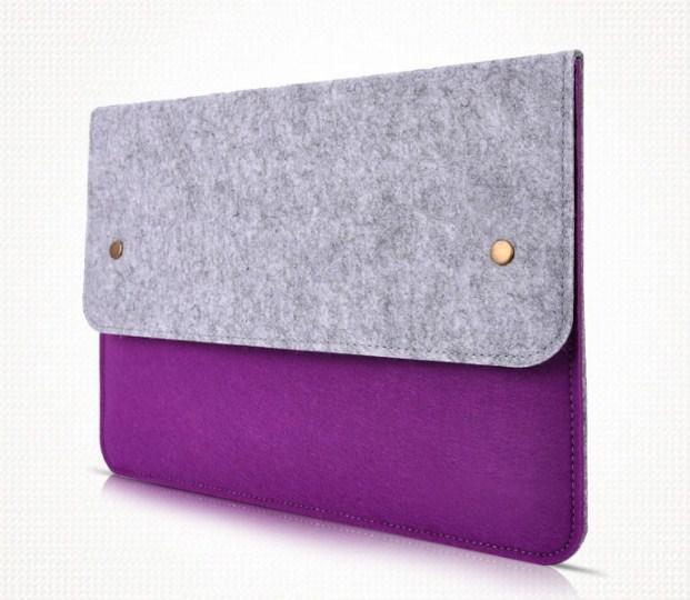 Фиолетовый чехол на кнопках из стильного войлока ( папка для документов )
