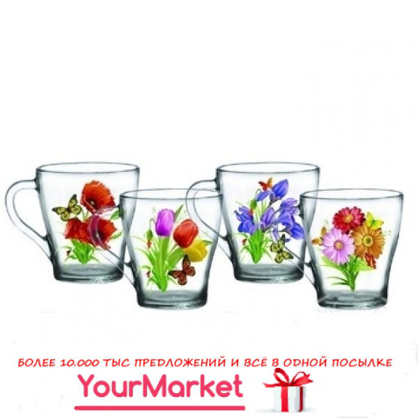 Чашка стеклянная Грация Луговые цветы 250 мл 85003598