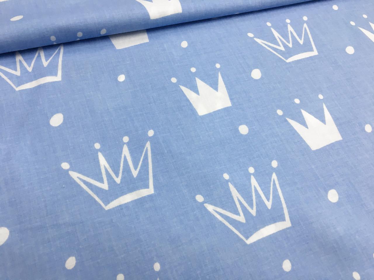 """Польская хлопковая ткань """"короны белые с горохом на голубом"""""""