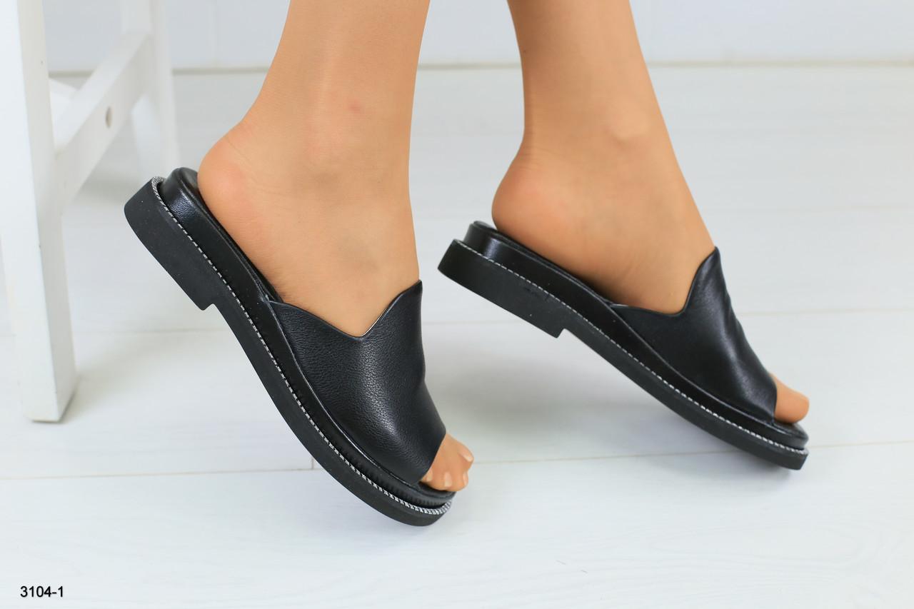 926280f5484f Женские черные кожаные шлепанцы - Интернет-магазин обуви Vzuto.com.ua в  Чернигове