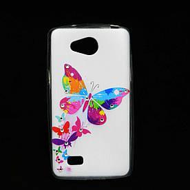 Чехол накладка для LG JOY h220 силиконовый Diamond, Бабочки