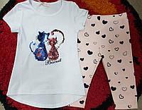 Комплект футболка-туника с пайетками и бриджи для девочки 4 года