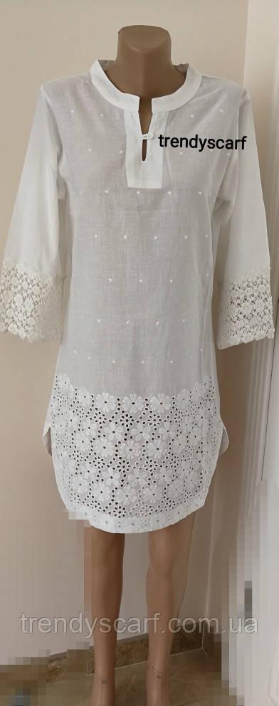 f30169c810f Женская летняя Туника Рубашка удлиненная белая кружево.Удленненная рубашка  с полукруглым низом. Хлопок. Индия