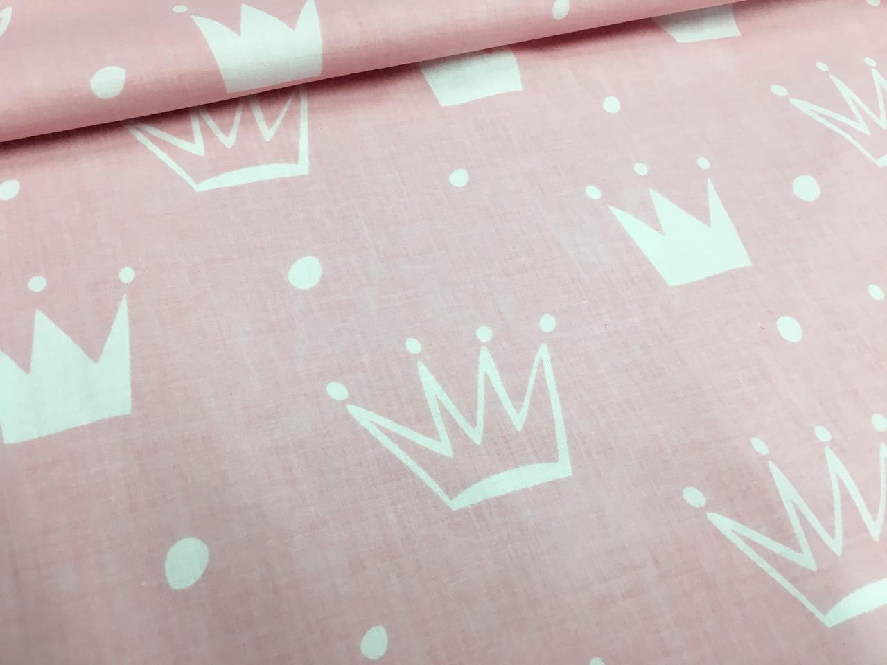 """Польская хлопковая ткань """"короны белые на розовом"""""""
