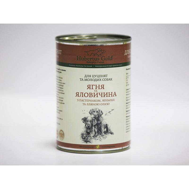 Консервований корм для цуценят і молодих собак Hubertus Gold Яловичина з Яблуком і Пастернаком, 400 г