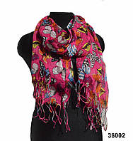 Малиновый льняной шарф