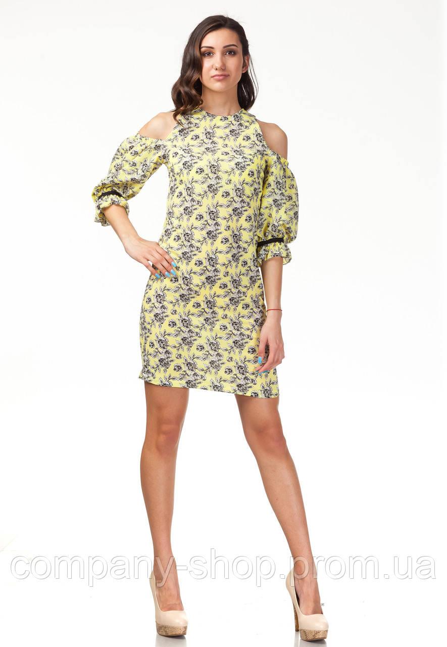 Платье с открытыми плечами. Модель П120_желтые цветочки.