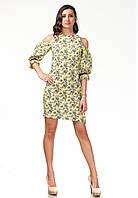 Платье с открытыми плечами. Модель П120_желтые цветочки., фото 1