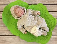 """Велюровый комбинезончик с шапочкой для младенцев  """"Маленькие стиляжки"""" на хлопковом подкладе, пудровый, фото 1"""