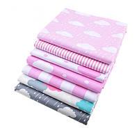 Набор тканей (Ткань) Розово-серые оттенки Тучи и полоска для Пэчворка 40x50 см 7 шт, фото 1