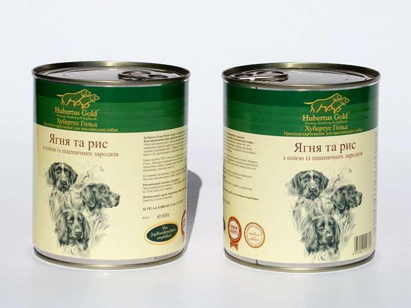 Консервований корм для собак. Hubertus Gold. Ягня і рис