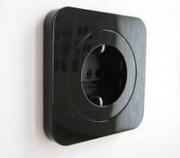 Розетка с заземлением BERKER R1 чёрная, фото 1