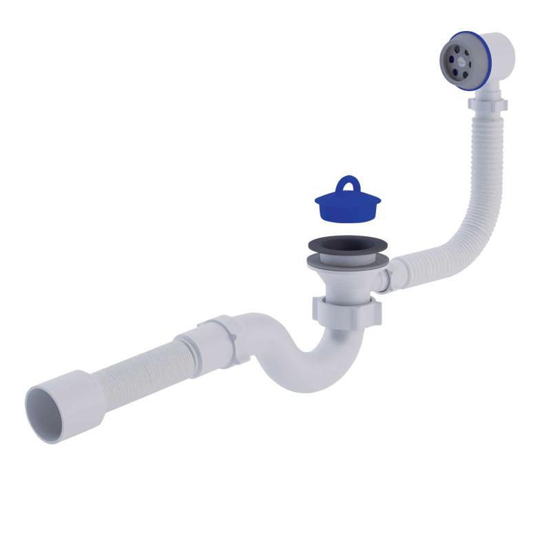 """АНИ Сифон (E155-E156) для ванны прямоточный, с выпуском и переливом 11/2"""" (выход 50 мм)"""