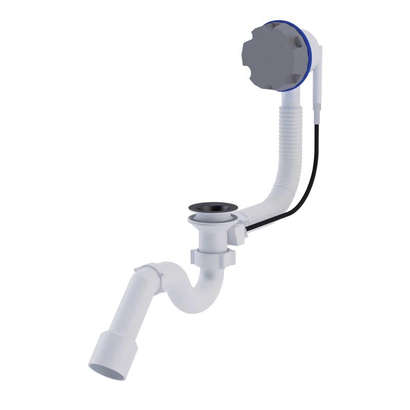 """АНИ Сифон (EM411) для ванны п/а прямоточный, с выпуском и переливом 11/2"""" (выход 50 мм)"""