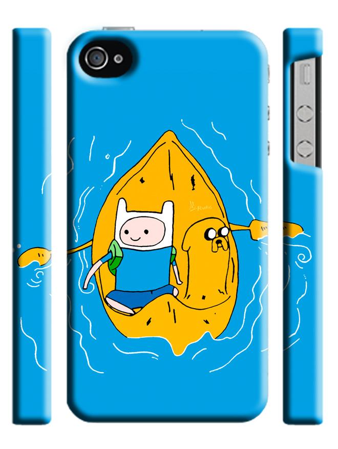Чехол для iPhone 4/4s/5/5s/5с  adventure time время приключений фин и джейк в лодке