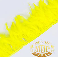 Тесьма перьевая из перьев индюка, цветYellow, цена за 0.5м