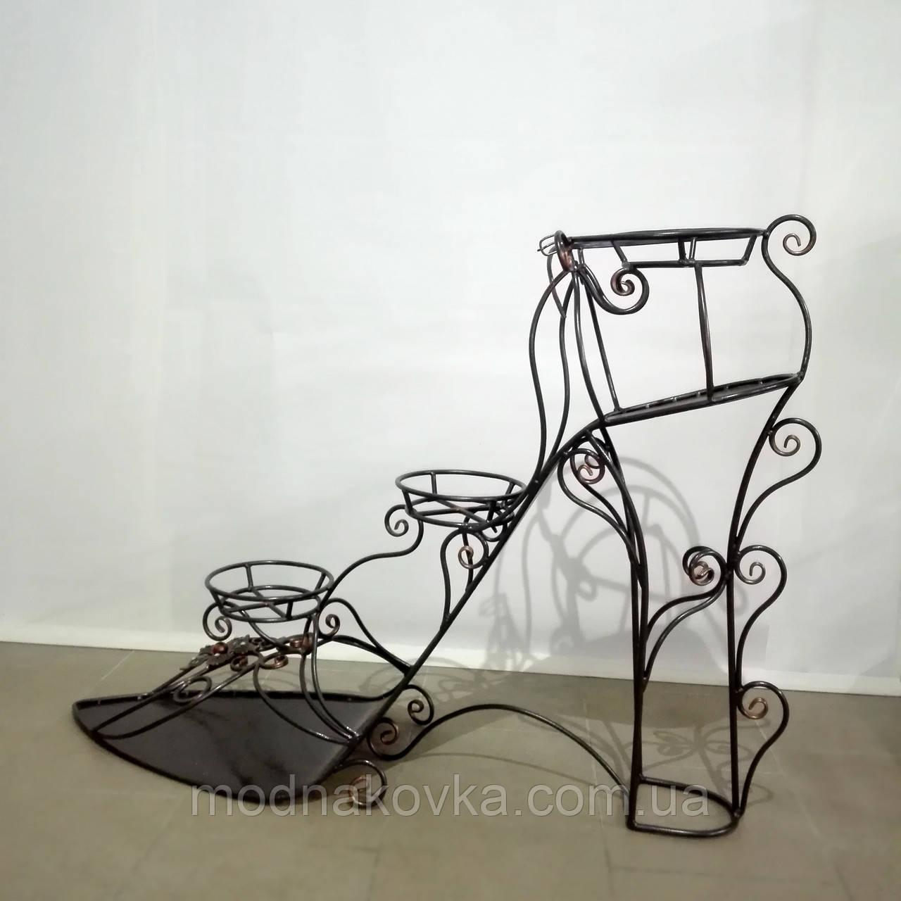 Кованая цветочная подставка Туфля 3, фото 1
