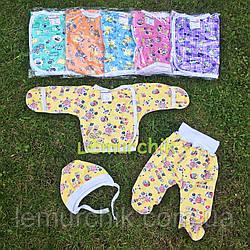 Комплект для новонародженого футер (сорочечка+повзунки+шапочка), жовтий