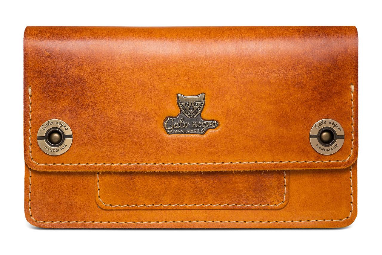 25f524cdcbc0 Кожаный кошелек клатч ручной работы Fellini, рыжий (женские кошельки из натуральной  кожи)