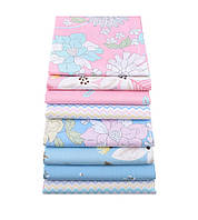 Набор тканей (Ткань) для Пэчворка Розово-голубые оттенки 40x50 см 8 шт, фото 1