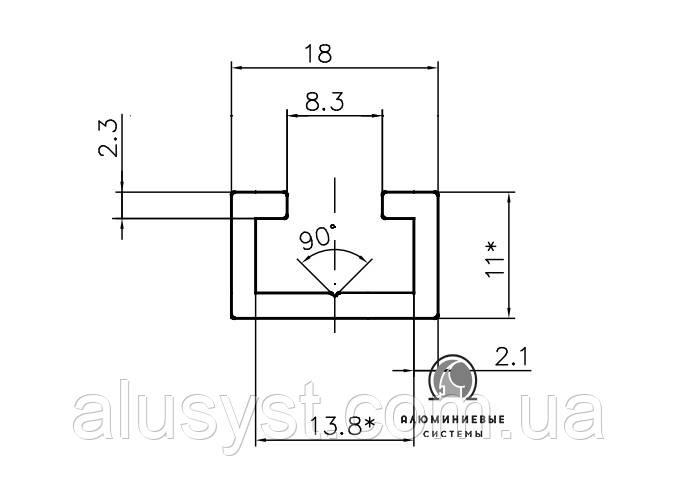 T-track профиль алюминиевый 18х11 под болт М8