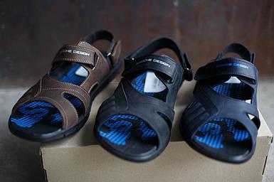 Кожаные мужские сандалии adidas Porsche Design Черне/Синие/Коричневые