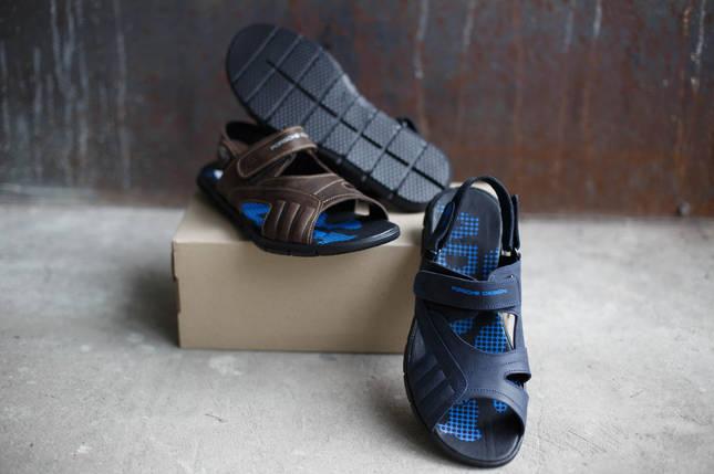 Кожаные мужские сандалии adidas Porsche Design Черне/Синие/Коричневые, фото 2