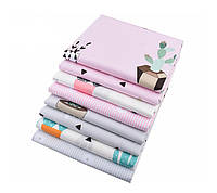 Набор тканей (Ткань) для Пэчворка Серо-розовые оттенки Кактус 40x50 см 8 шт, фото 1
